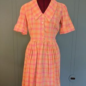 Vintage summer pink and orange plaid dress